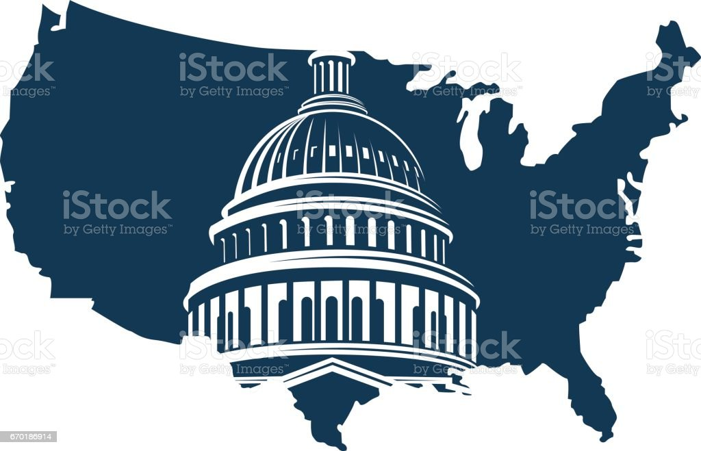 capitol building on background of the map vector art illustration