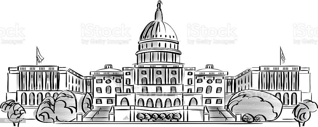 US Capitol Building vector art illustration
