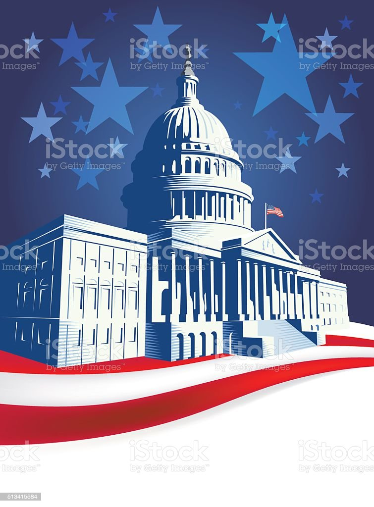 Capitol Building with stars and stripes vector art illustration