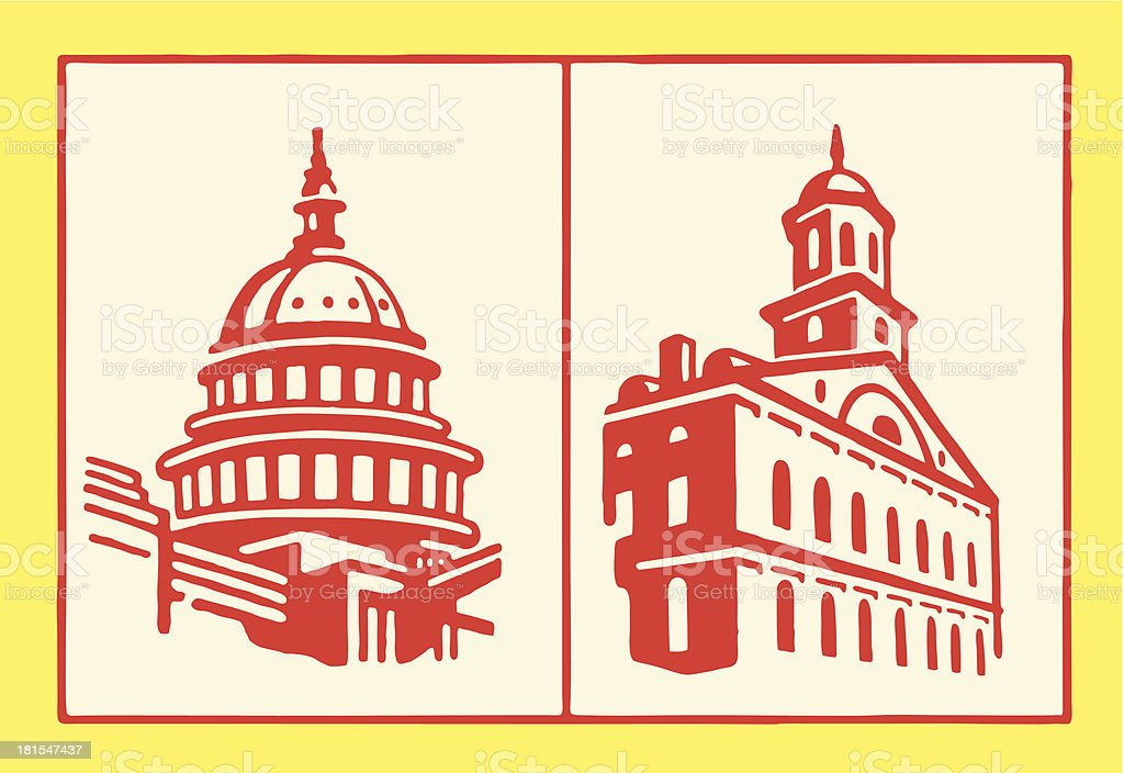 Capitol Buildings vector art illustration
