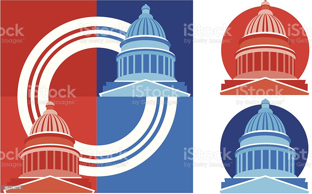 Capitol Dome or Red vs Blue States vector art illustration