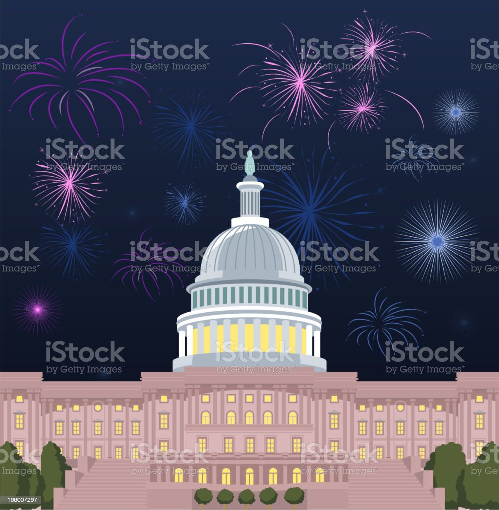 Capitol Fireworks royalty-free stock vector art