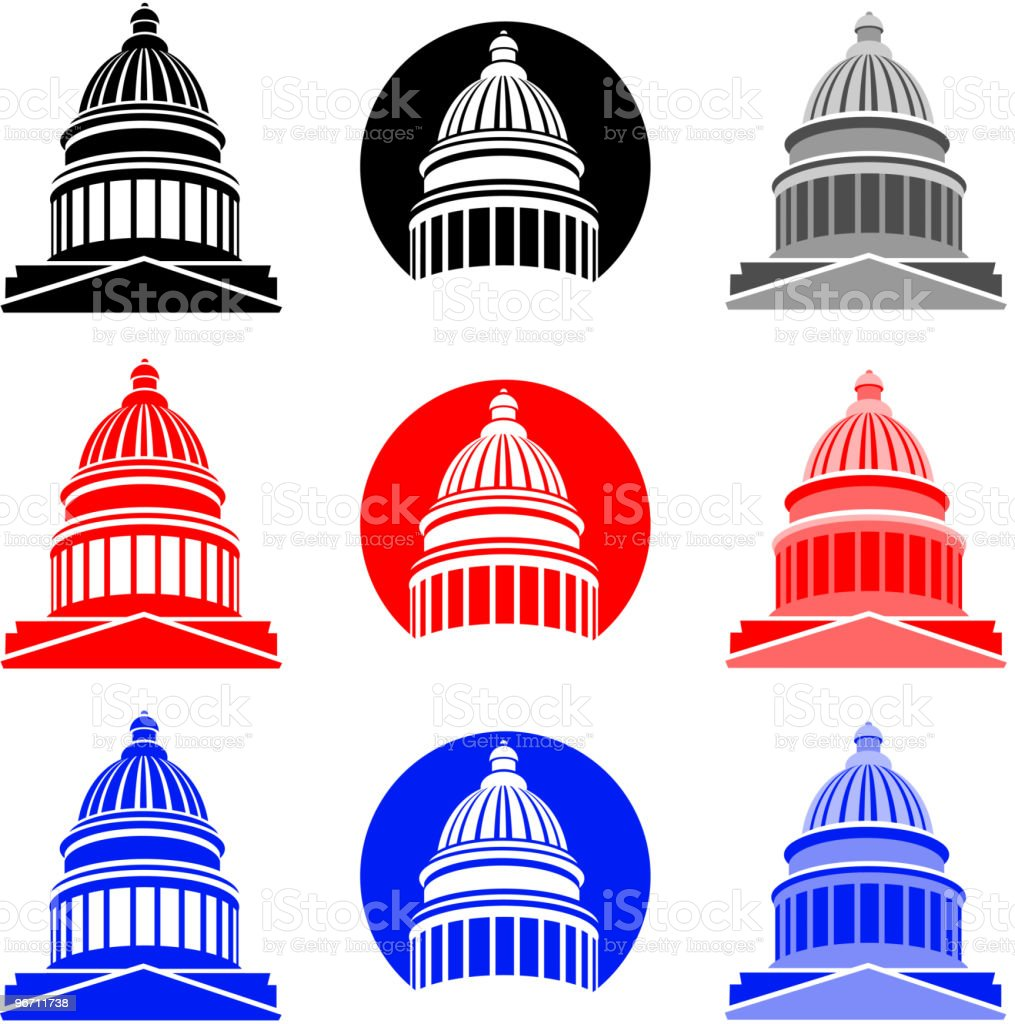 Capitol icons vector art illustration