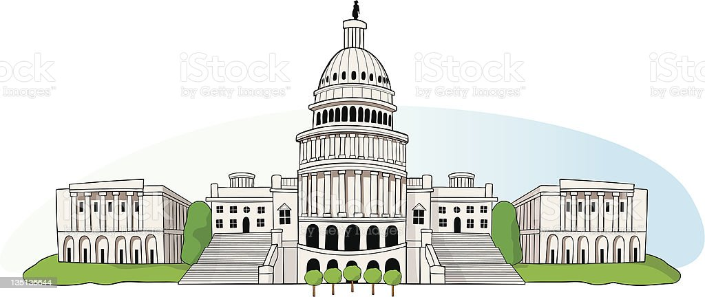 US Capitol in Washington DC royalty-free stock vector art