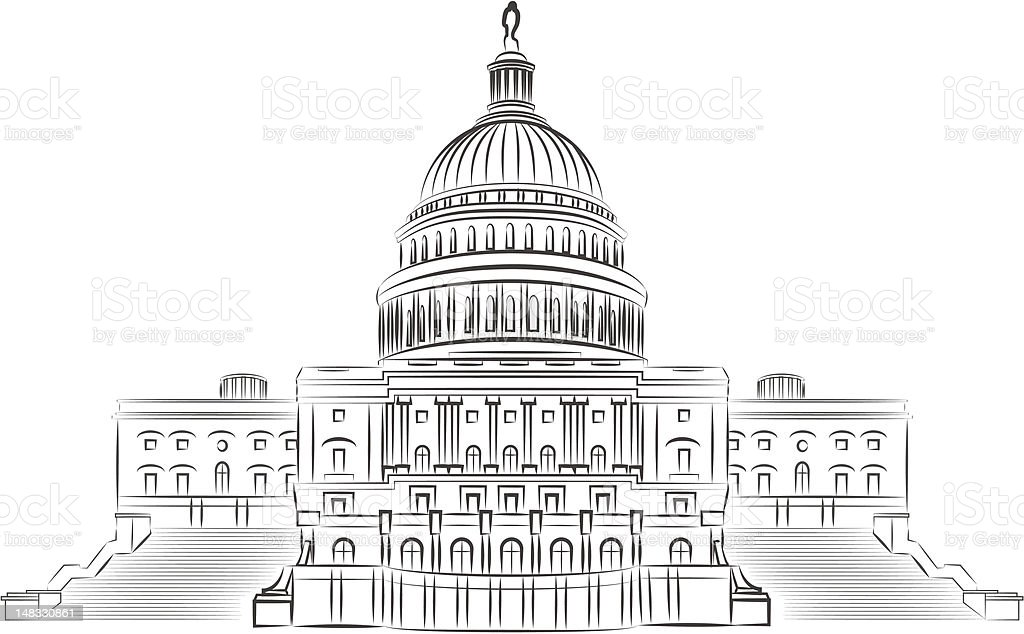 Capitol outline vector illustration royalty-free stock vector art
