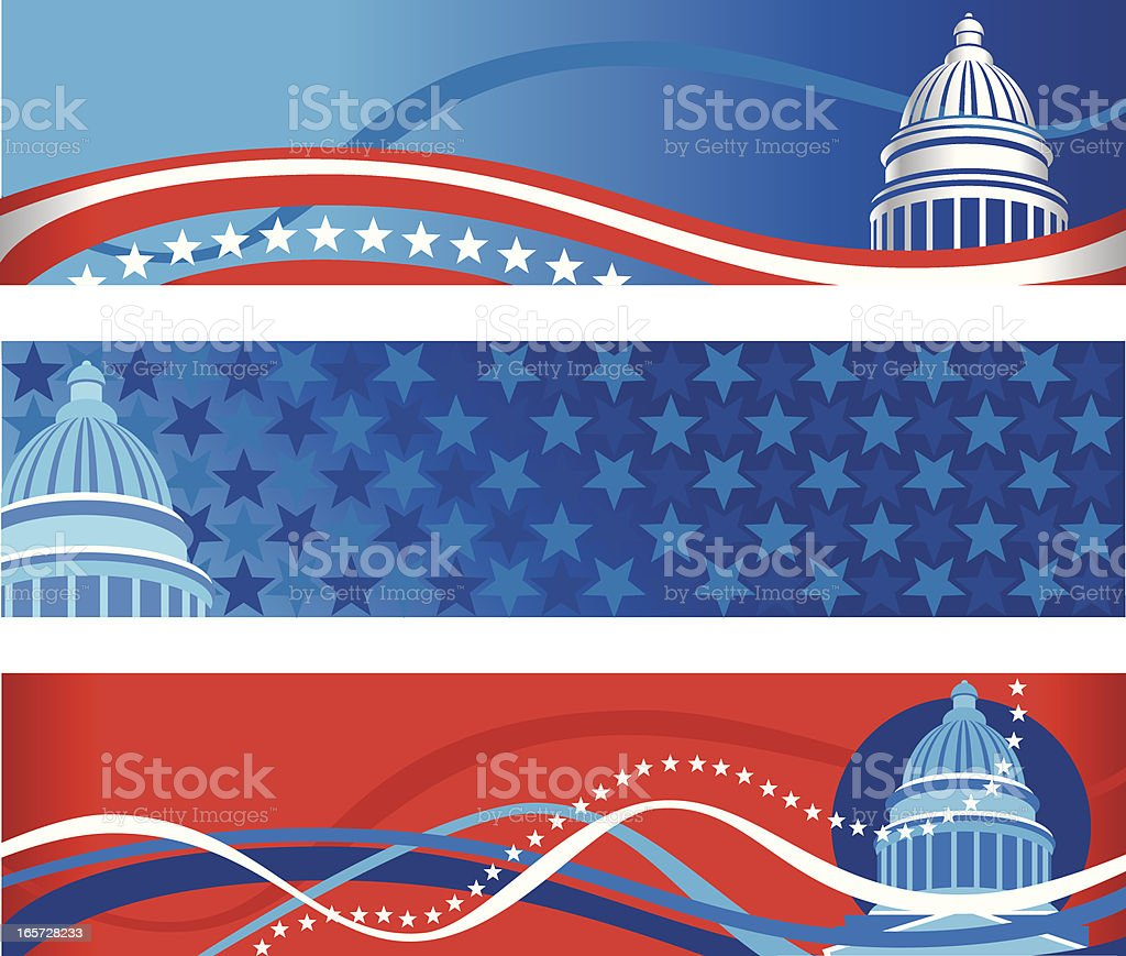 Capitol Political Banners vector art illustration