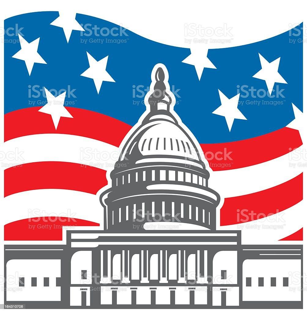 U.S. Capitol vector art illustration