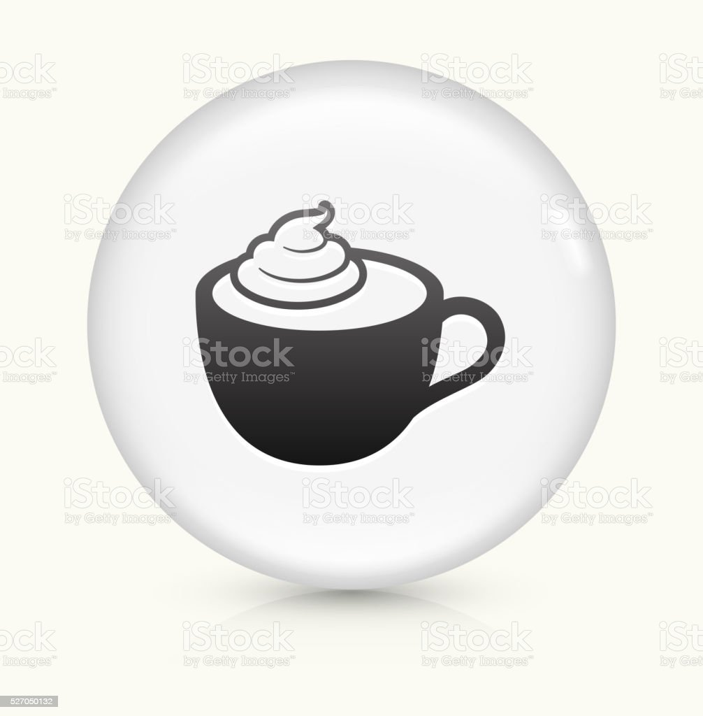 Cappuccino icon on white round vector button vector art illustration