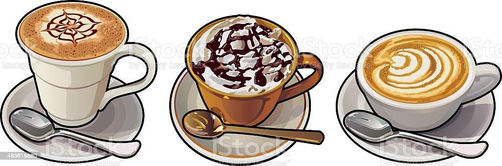Cappuccino, Mochaccino,Cafe Mocha vector art illustration