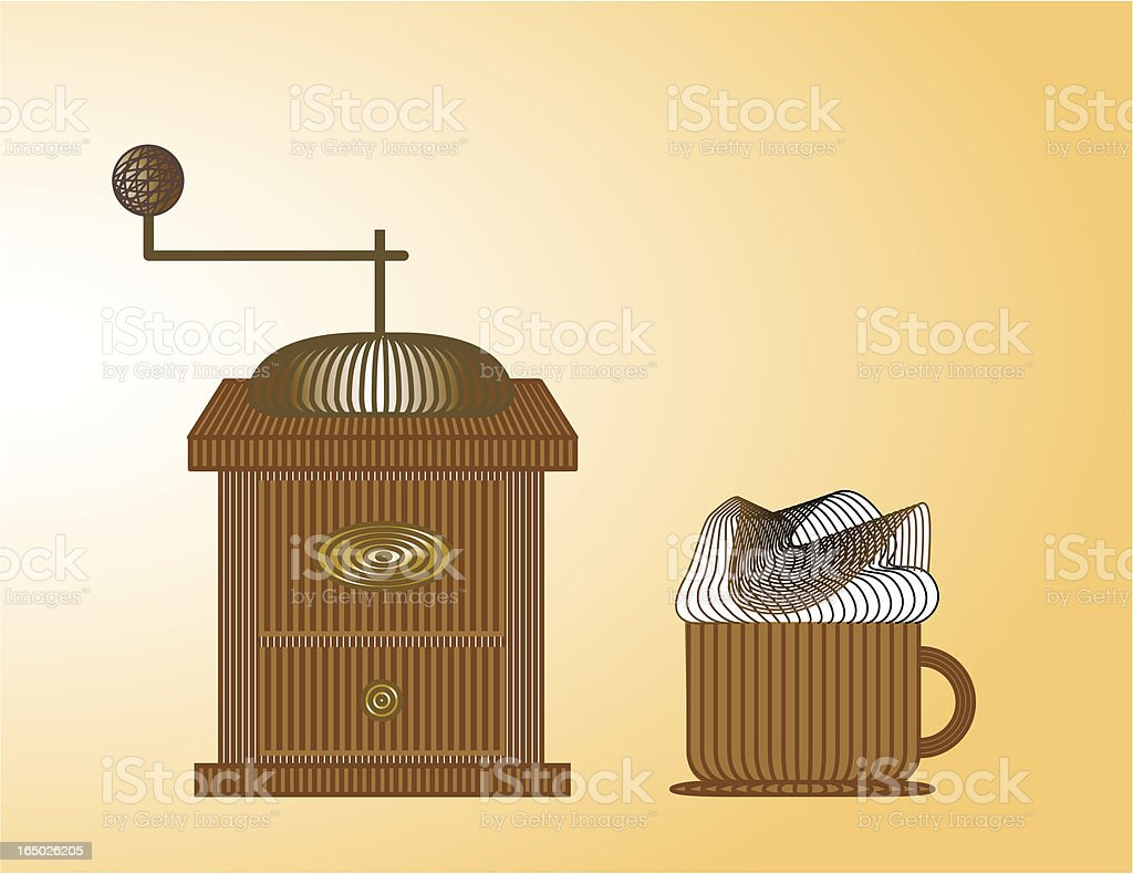 Cappucino and old coffee grinder vector art illustration