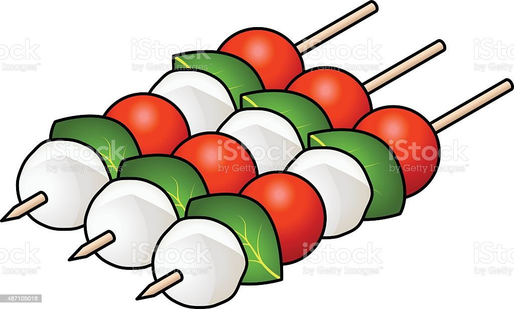 Caprese salad sticks vector art illustration