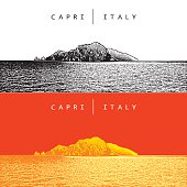 Capri, Italy. Vector panoramic view of the famous Island.