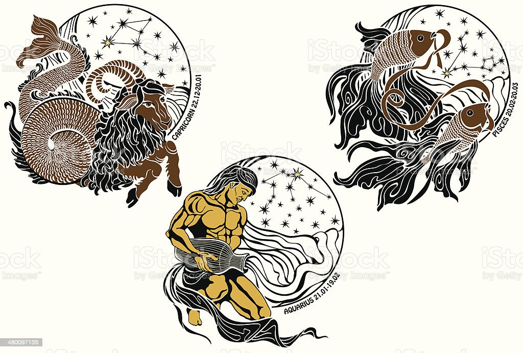 Capricorn,Aquarius,Pisces and the zodiac sign.Horoscope vector art illustration