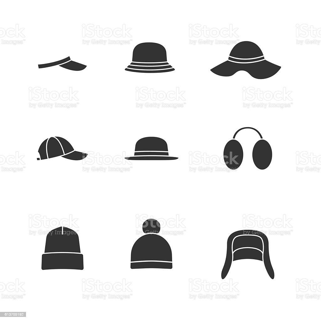 Caps and hats black icons set vector art illustration