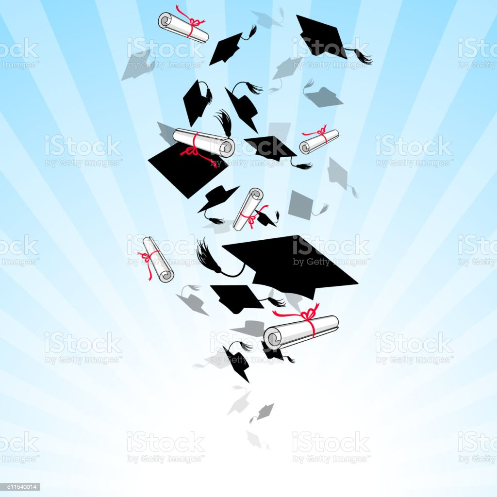 Caps Graduates Whirlwind in the Sky vector art illustration