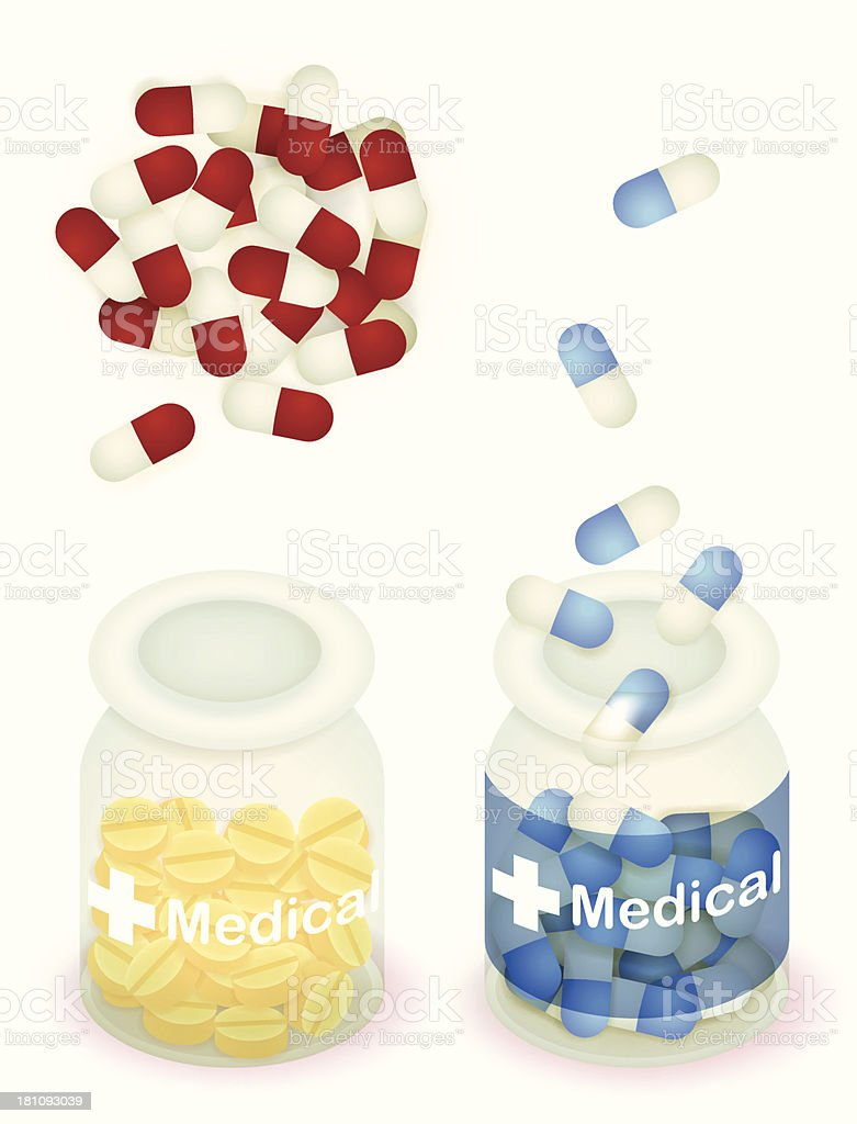 Capsule pill and tablet in clear bottle - Vector EPS10 royalty-free stock vector art