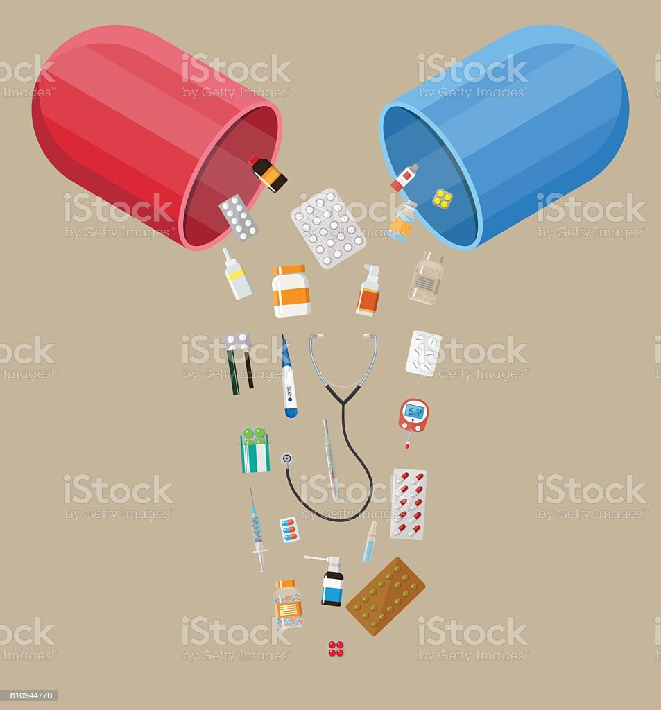 capsule with different pills and medical devices vector art illustration