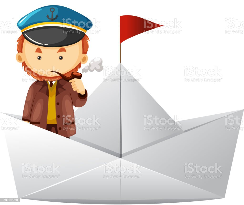 Captain and paper boat vector art illustration