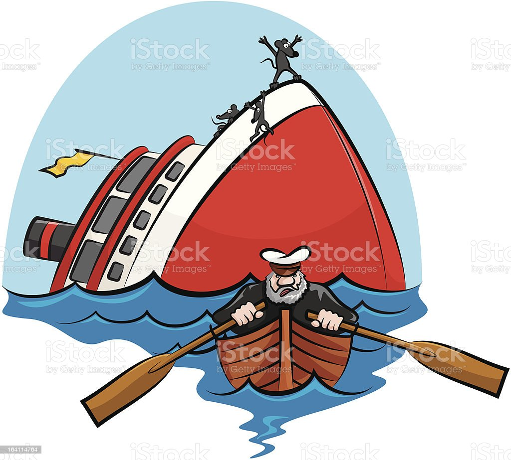 captain coward vector art illustration
