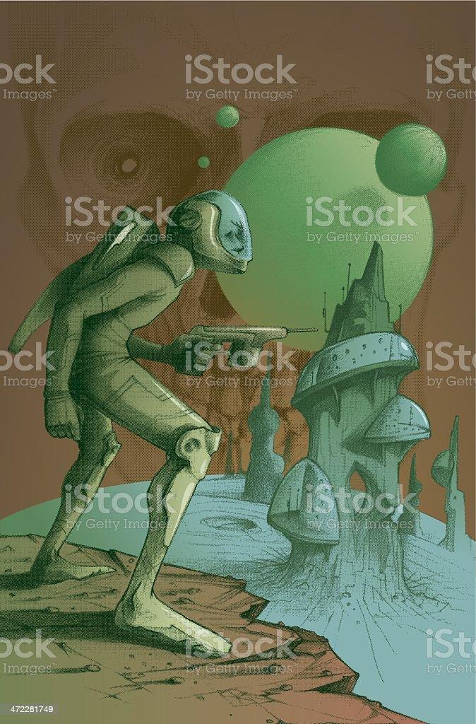 Captain Dandy and the mars revenge smackdown vector art illustration
