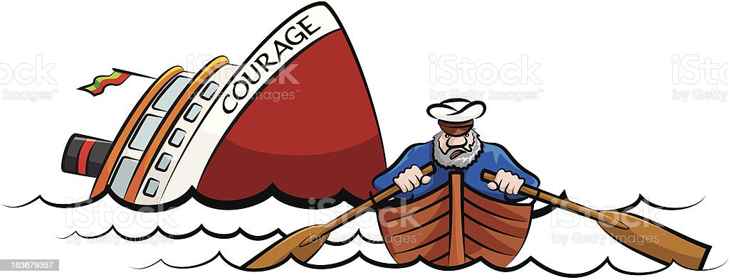 captain fleeing the sinking ship vector art illustration