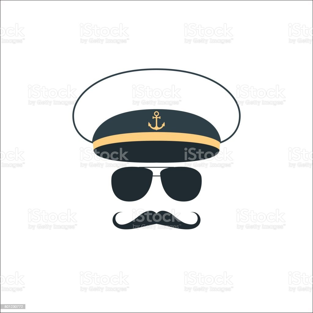 Sailor stock photos illustrations and vector art - Captain Sailor Face Icon Vector Illustration Royalty Free Stock Vector Art