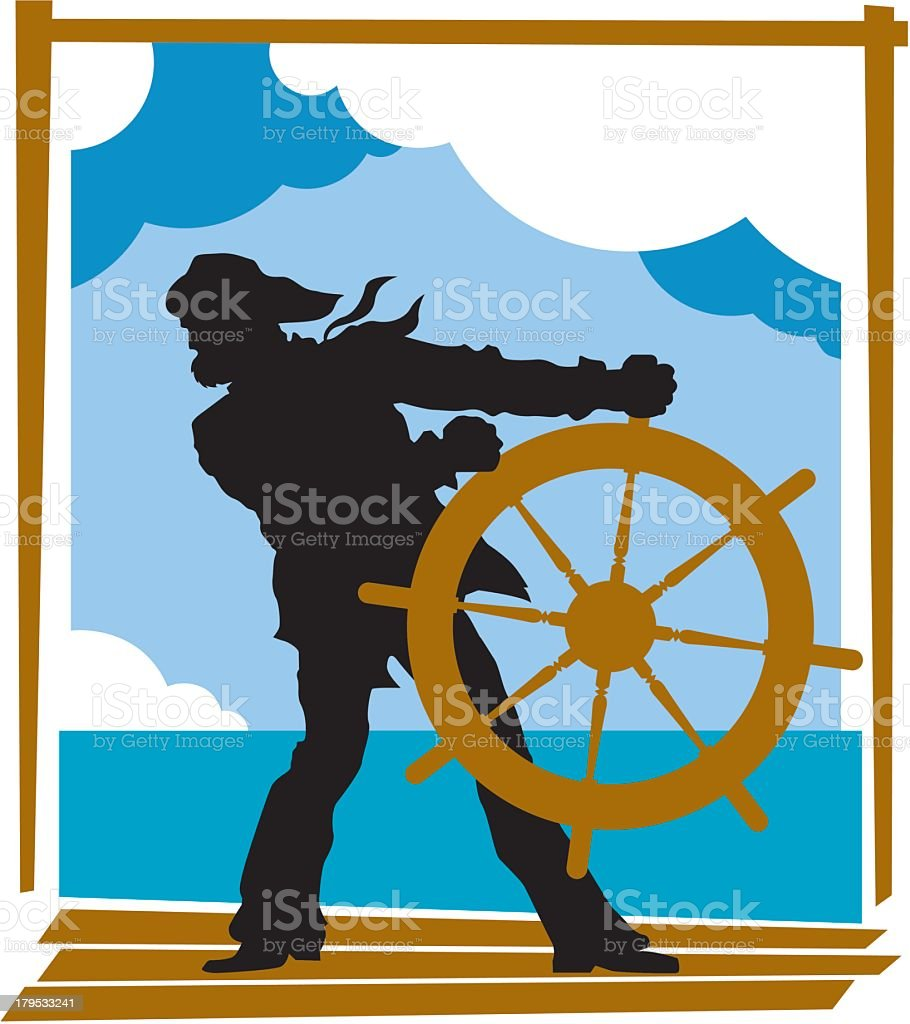 Captain Steering His Ship royalty-free stock vector art