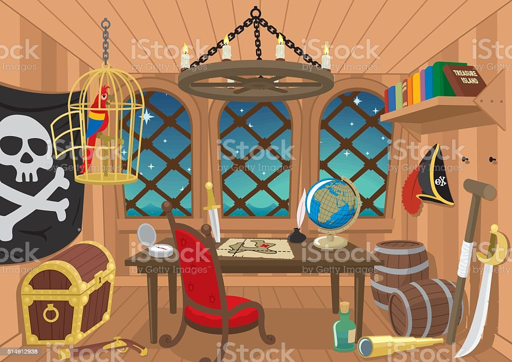 Captain's Cabin vector art illustration