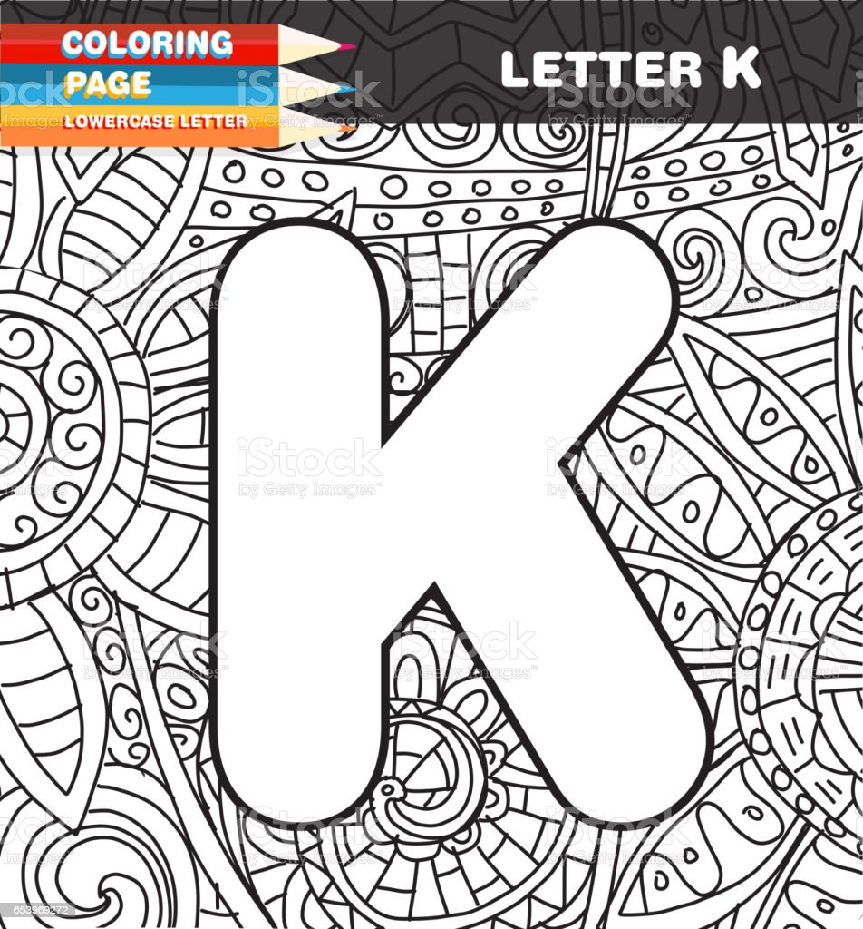 Captial letter Coloring page doodle vector art illustration