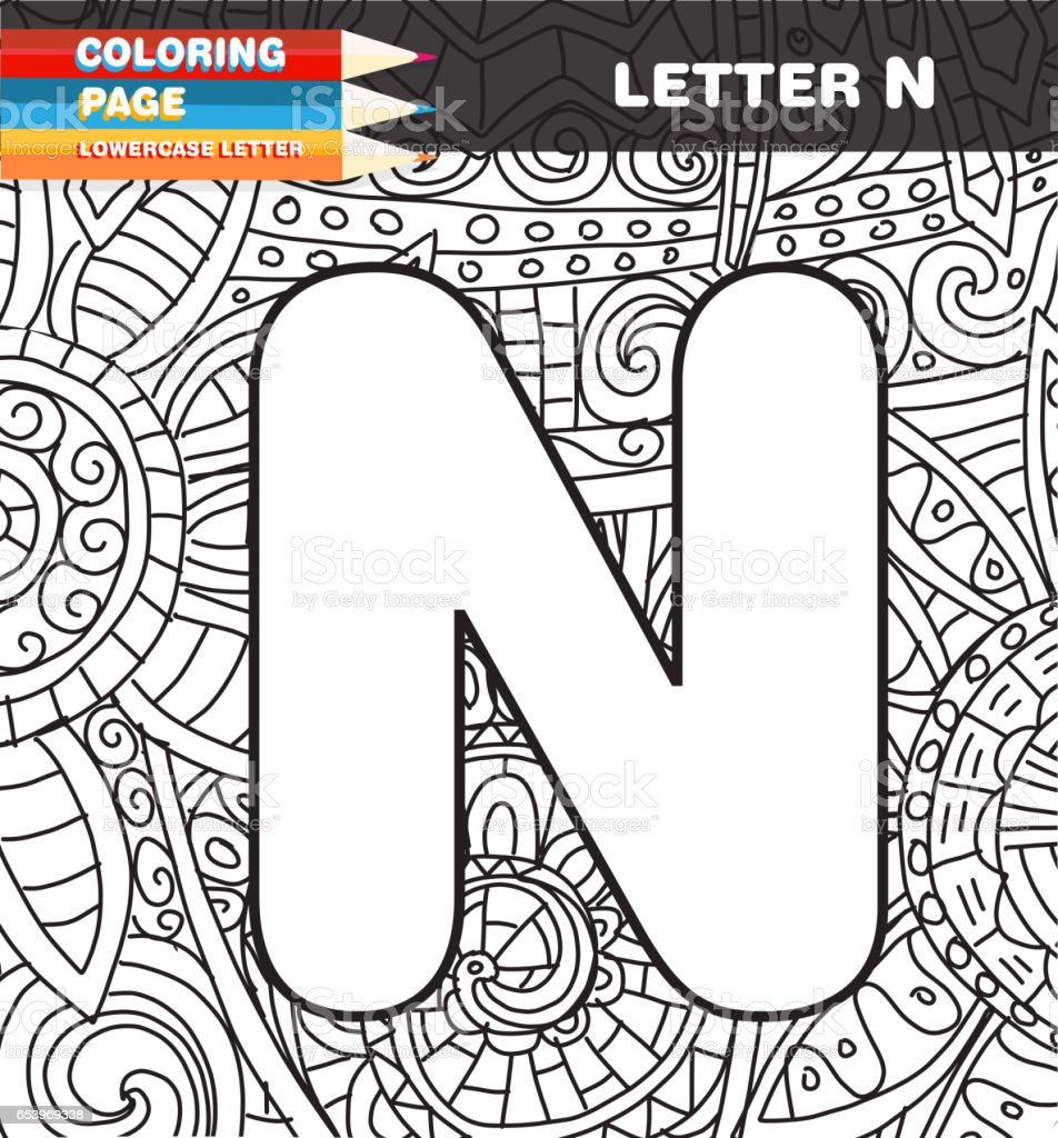 captial letter coloring page doodle stock vector art 653969338