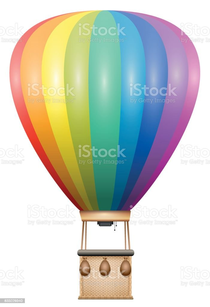 Captive balloon - rainbow colored flying vehicle with basket and sandbags - isolated vector illustration on white background. vector art illustration
