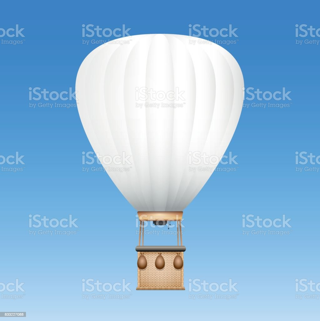 Captive balloon with white surface to be used as advertising space for text, images or your company logo - vector illustration on blue sky background. vector art illustration