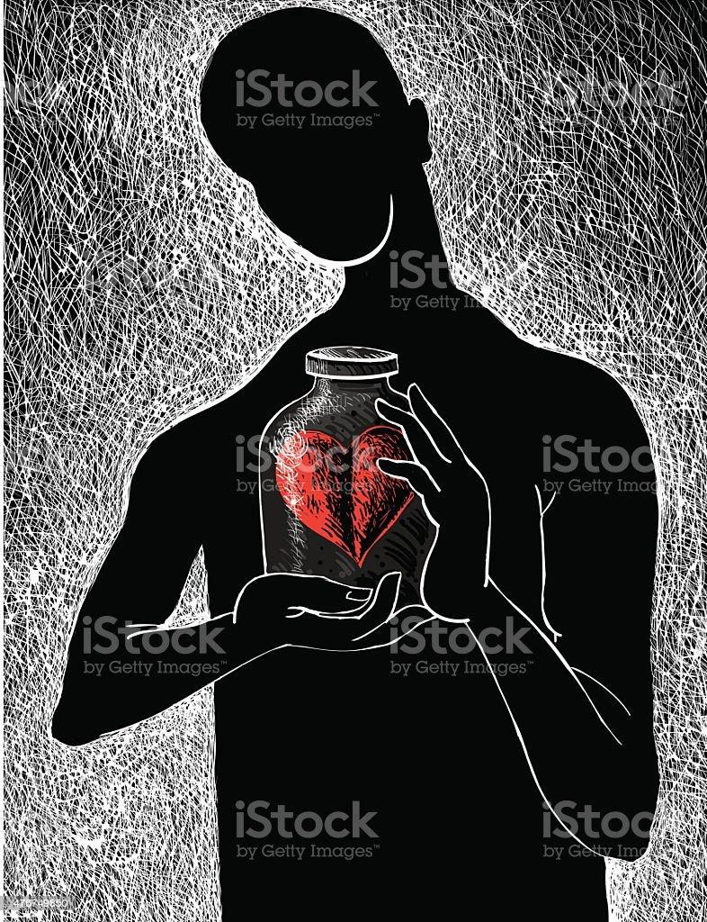 Captive heart vector art illustration