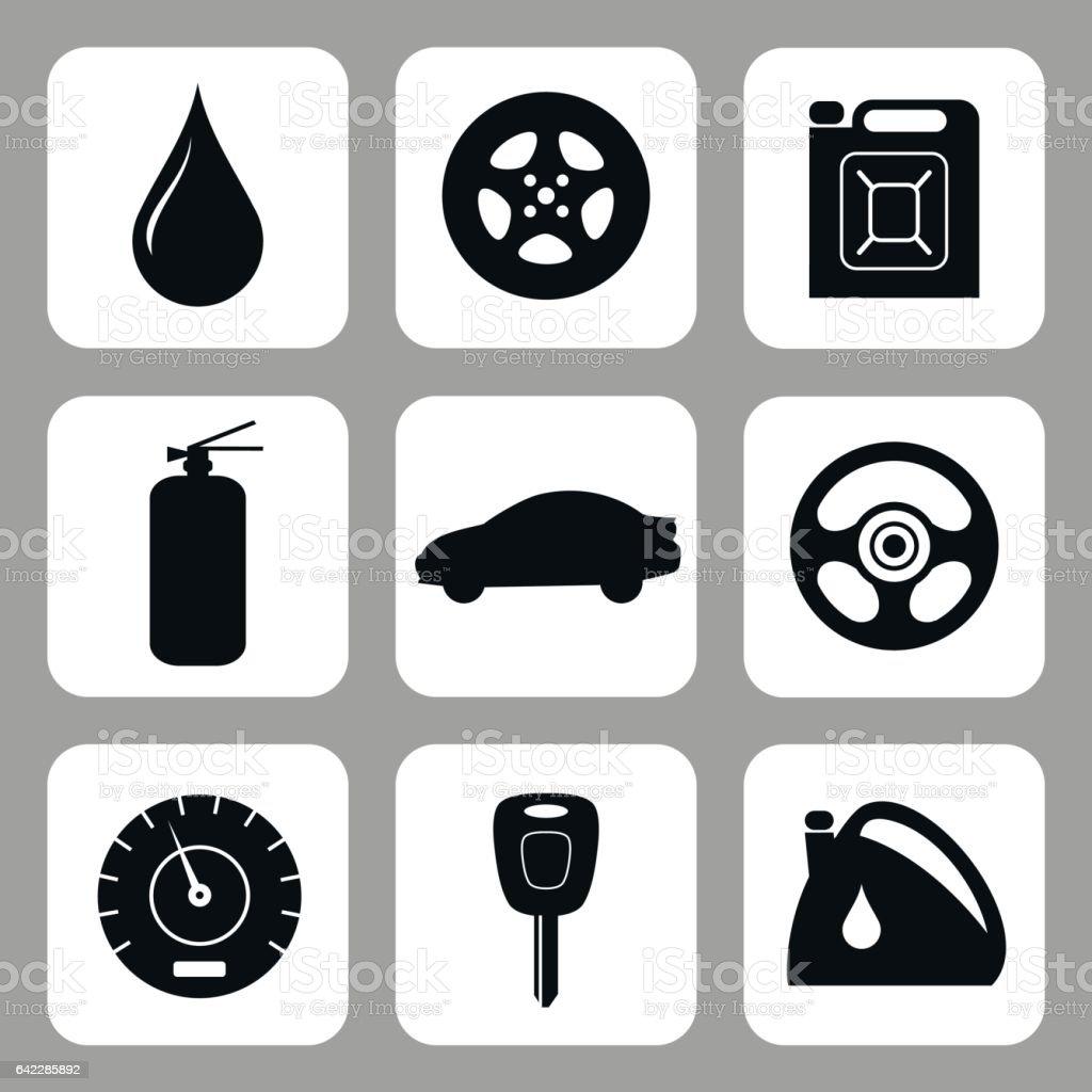 Car accessories. Vector set. vector art illustration