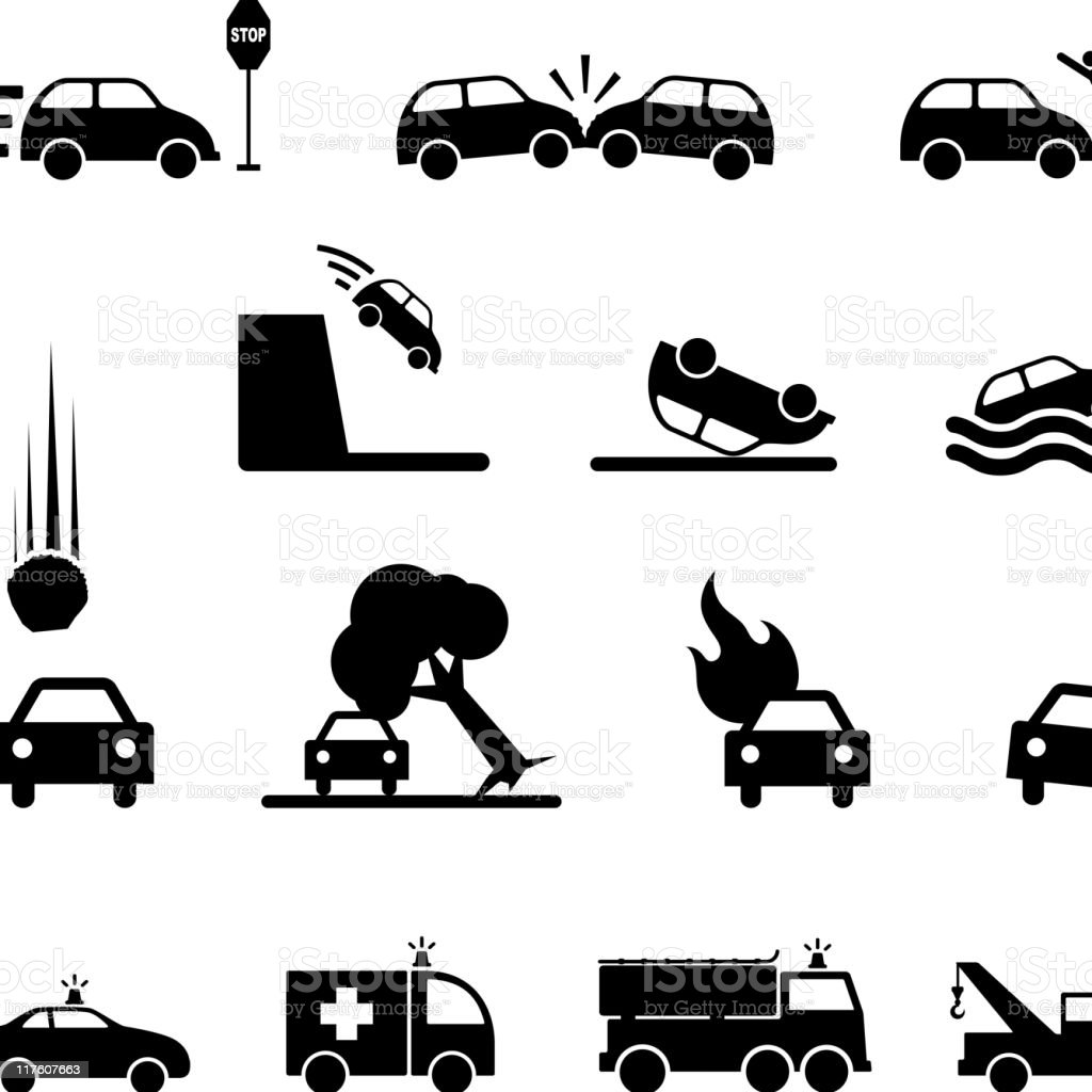 car accident black & white royalty free vector icon set vector art illustration
