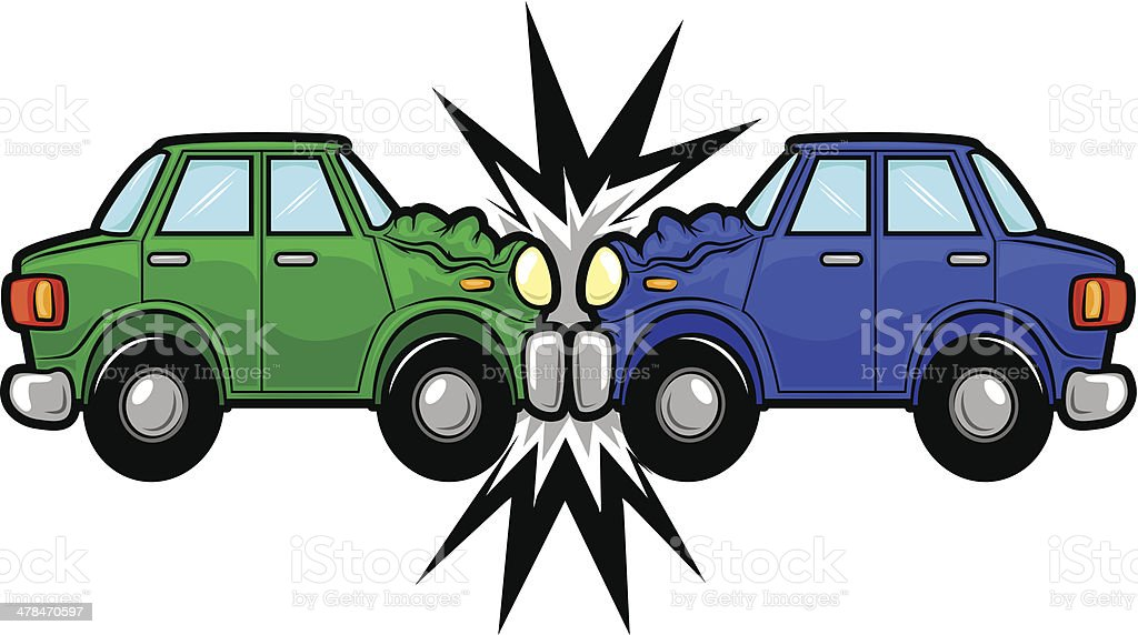Car Accident Cartoon vector art illustration