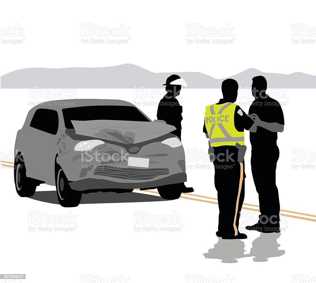 Car Accident Details vector art illustration