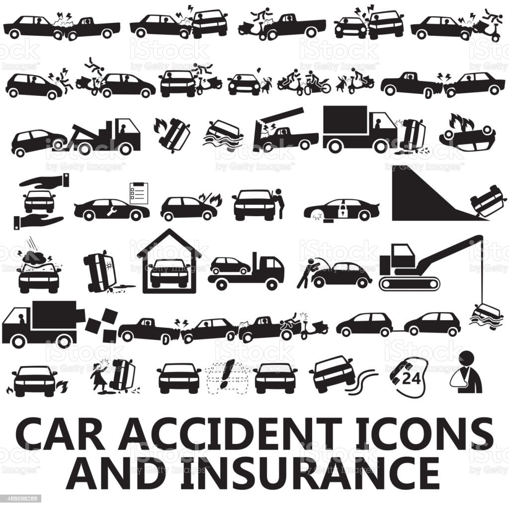 car accident icons and insurance vector art illustration