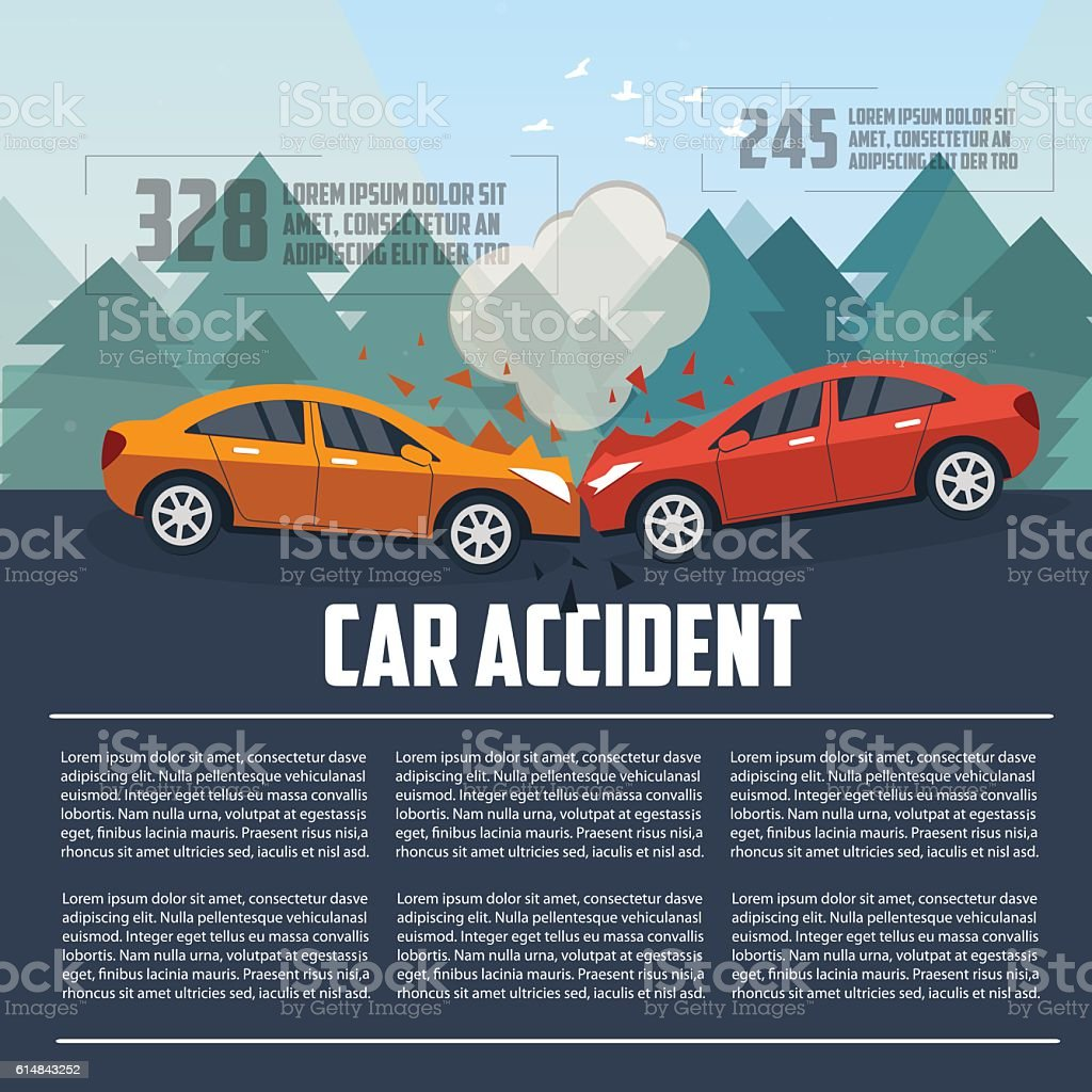 Car accident infographics. vector art illustration