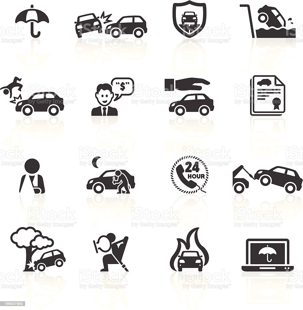 Car Accident & Insurance Icons vector art illustration