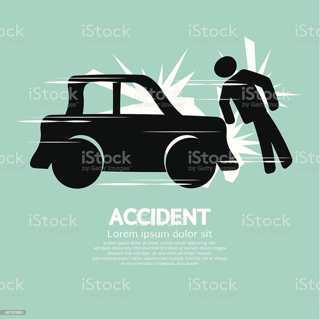 Car Accident Knocked Down A Man royalty-free stock vector art