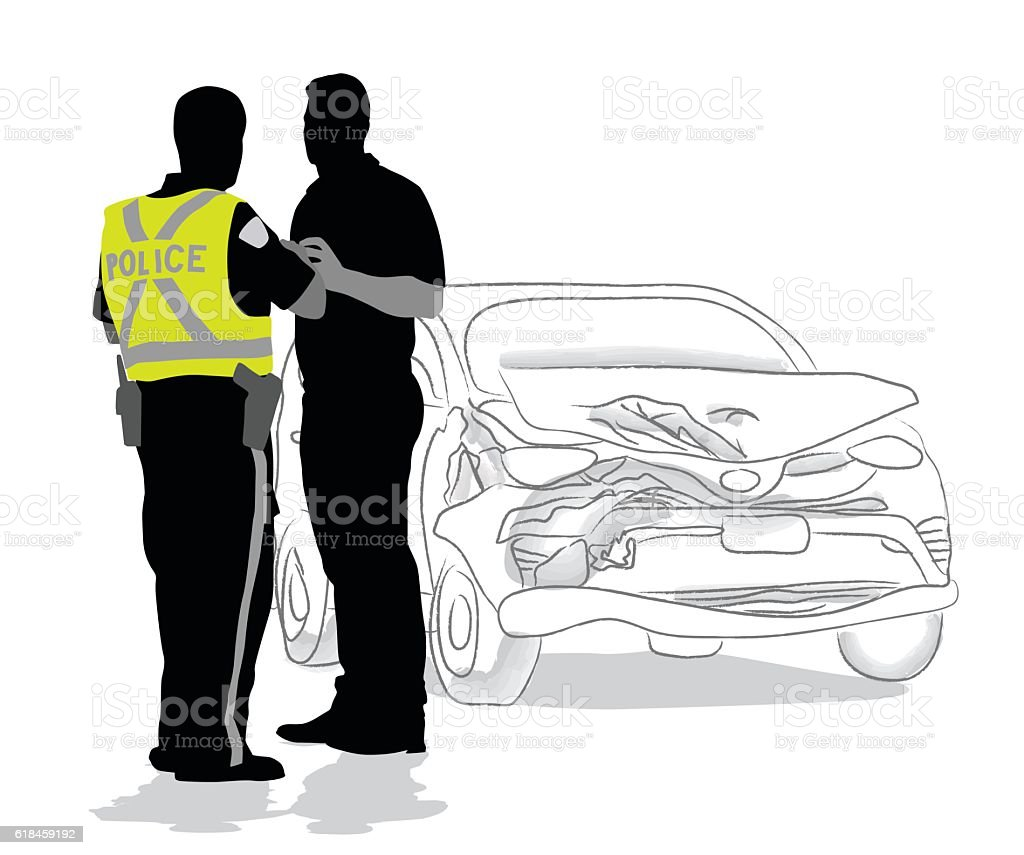 Car Accident Police Questions vector art illustration