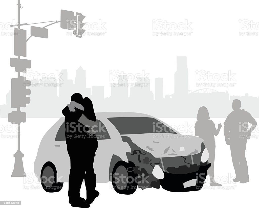 Car Accident Remorse vector art illustration