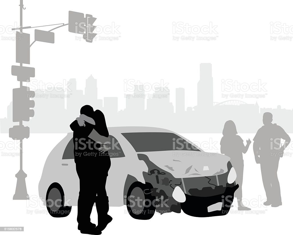 Car Accident Remorse vector art illustration