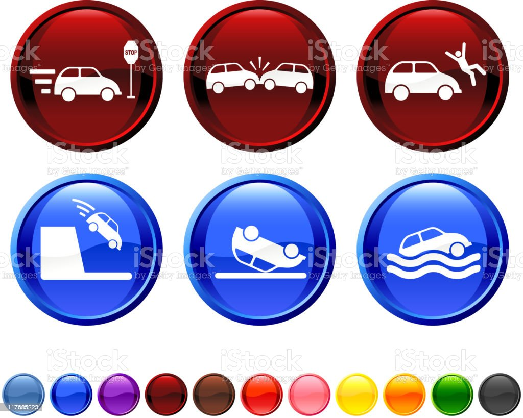 car accident royalty free vector icon set royalty-free stock vector art