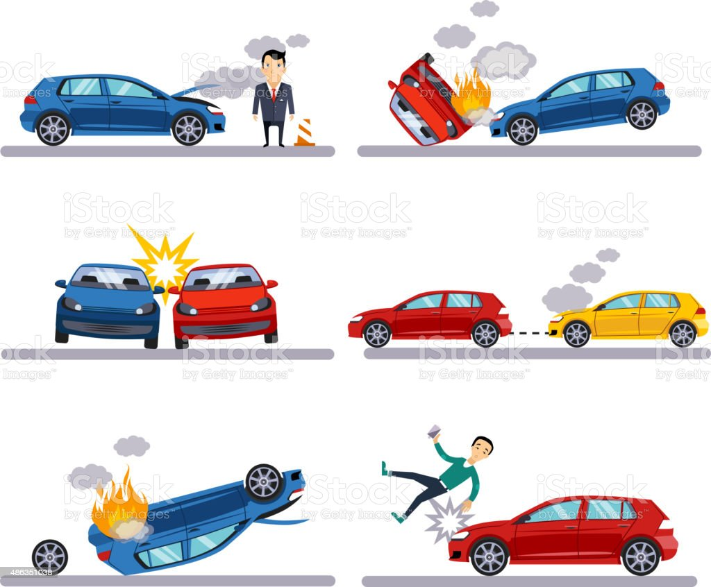 Car accidents set on white vector art illustration