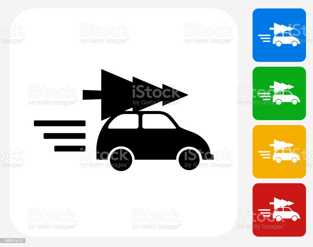 Car and Christmas Tree Icon Flat Graphic Design vector art illustration