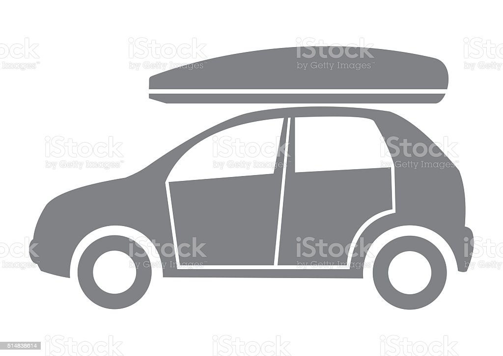 Car and coffin vector art illustration