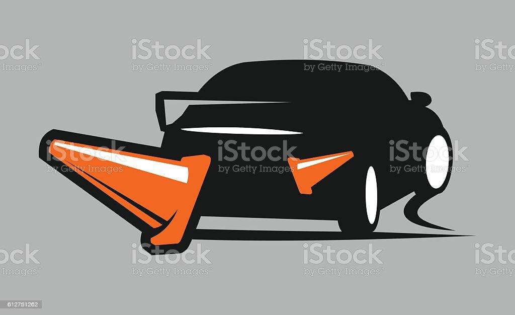Car and cones vector art illustration