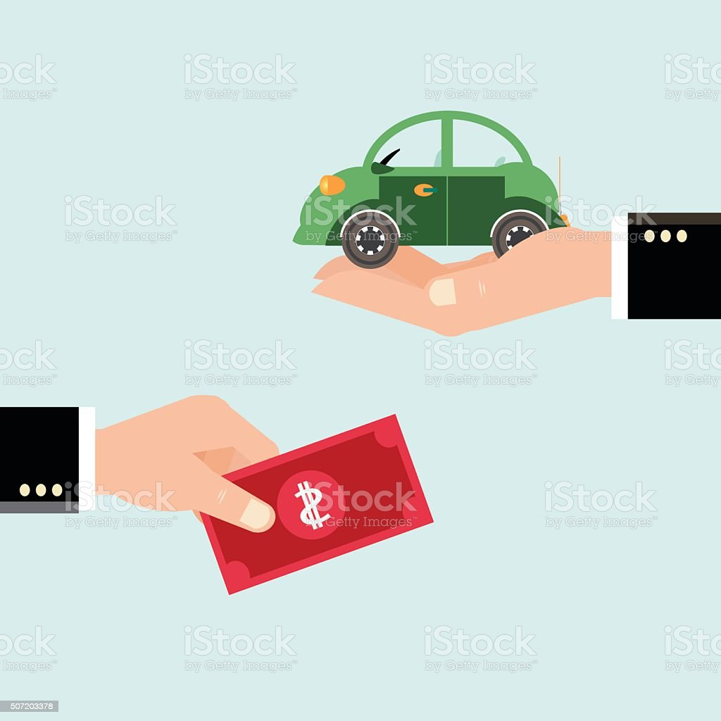 Car and dollar notes sitting on his hand. vector art illustration